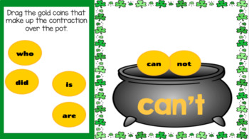 Google Classroom St. Patrick's Day Pot of Gold Contractions