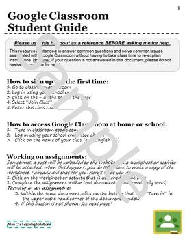 Google Classroom Student (and Teacher) Guide
