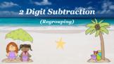 Google Classroom: Subtracting 2 Digit (Regrouping)- Beach
