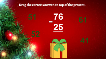 Google Classroom: Subtraction 2 Digit (No Regrouping) - Christmas