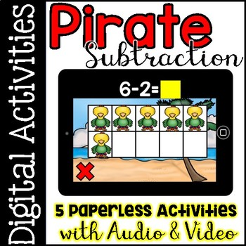 Digital Centers Subtraction within Ten (for Google Classroom, One Drive)