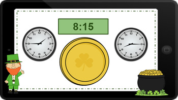 Google Classroom: Telling Time- 5 Minute Intervals- St. Patrick's Day