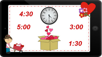 Google Classroom: Telling Time Hour and Half Hour- Valentine's Day