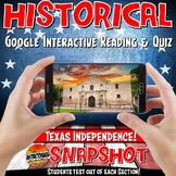 Google Classroom Texas Independence Snapshot Interactive Reading & Quiz