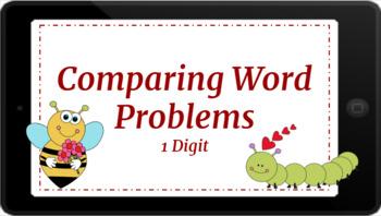 Google Classroom: Valentine Comparing Word Problems 1 Digit