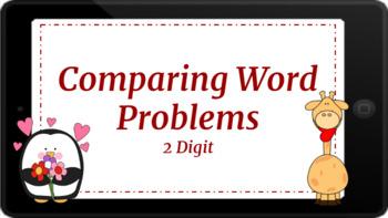 Google Classroom: Valentine Comparing Word Problems 2 Digit