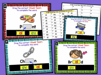 Google Classroom Activities for ELA | VOWEL TEAMS | ai, ay, oi, oy