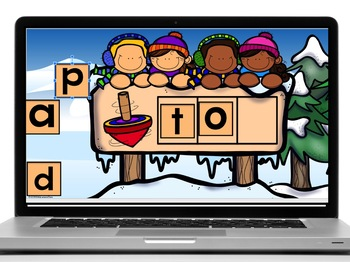Google Classroom Winter Digital and Done CVC Words, and Sight Words