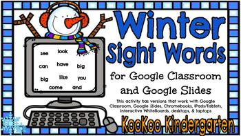 Google Classroom Winter Sight Words