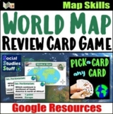 Google Classroom | World Map Skills Fan & Pick Card Game |