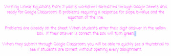 Google Classroom - Writing Equations in slope intercept from from 2 points