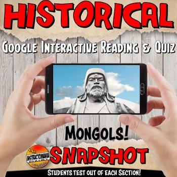 Google Classroom Yuan or Mongols Snapshot Interactive Reading Activities & Quiz