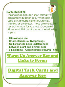 Biology Formative Assessment (Warm up/ Exit Ticket) Full Year Digital Resource