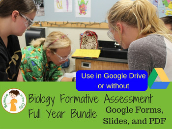 Biology Formative Assessment (Warm Up/Ticket Out) Full Year Bundle:Google Apps