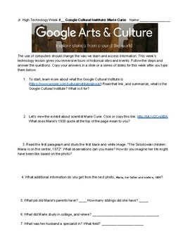 Google Cultural Institute Lesson Researching Scientist Marie Curie and Art