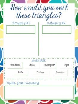 Google Digital Interactive Sorting Triangles PreAssessment