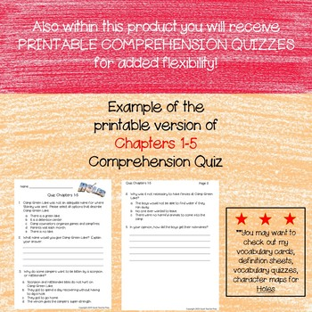 Google Digital & Printable Comprehension Quizzes for Holes by Louis Sachar