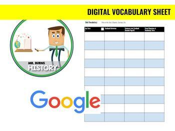 Google Digital Vocabulary Sheet
