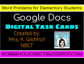 Google Digital Word Problem Task Cards for Elementary Students