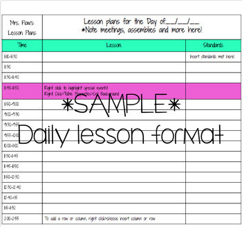 Google DocDaily Lesson Plan Template By Megs Crayons TpT - Daily lesson plan template doc