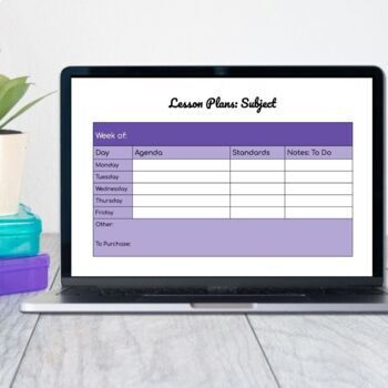Google Doc - Single Subject Lesson Planner Template (5 weeks)