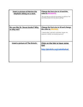 Google Doc Toolbar Practice with Dr. Seuss FREE DOWNLOAD