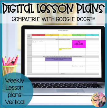 Google DocWeekly Lesson Plan Template By MegS Crayons  Tpt