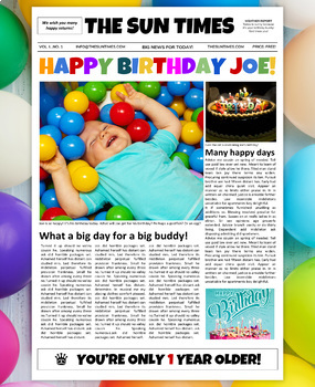 Google Docs Birthday Newspaper Template
