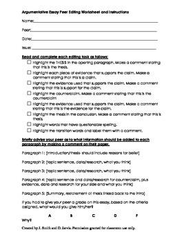 Google Docs Editing and Revision Student Worksheet - Argum