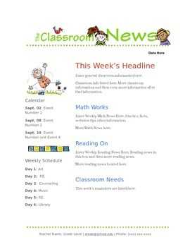 google docs elementary newsletter template by stephanie thompson. Black Bedroom Furniture Sets. Home Design Ideas