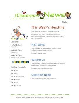 Google Docs Newsletter Template Worksheets & Teaching