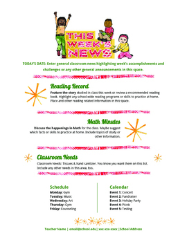 google docs elementary newsletter template happy kids by stephanie