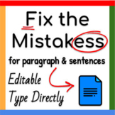 Google Docs ™︱Fix the Mistakes for Paragraphs and Sentence