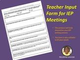 Google Docs: General Education Teacher IEP Input Form