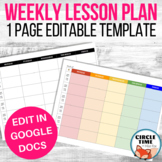 Google Docs Lesson Plan Template EDITABLE Weekly Teacher Planner, One Page