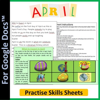 Monthly Activity (April) - April Fool's Day, Easter & Earth Day for Google Docs™