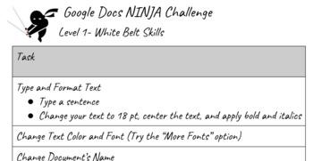 Google Docs Ninja Challenge