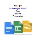 Google Docs, Presentation, and Sheets Scavenger Hunts