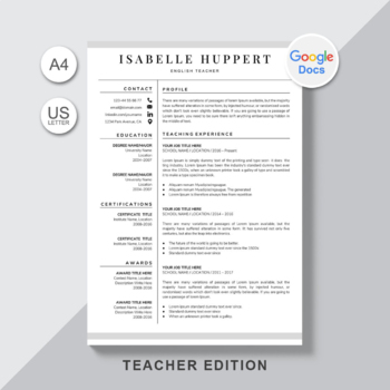 Google Docs Resume Template For Teacher Teacher Resume Template Google Docs