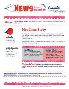Google Docs Spring Newsletter Template