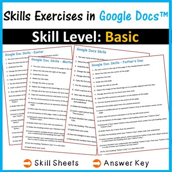 Google Docs - Word Processing Exercise Worksheets