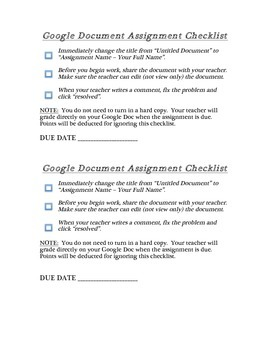 Google Docs checklist for students