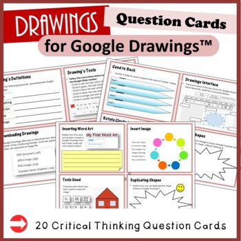 Google Drawings - 12 Question Cards (Critical Thinking Skills)