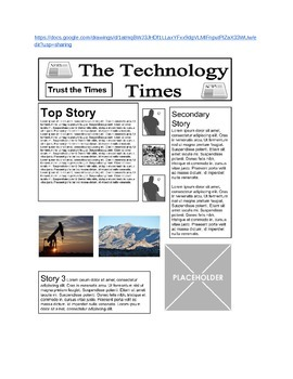 Google Drawings - Newspaper Front Page Template