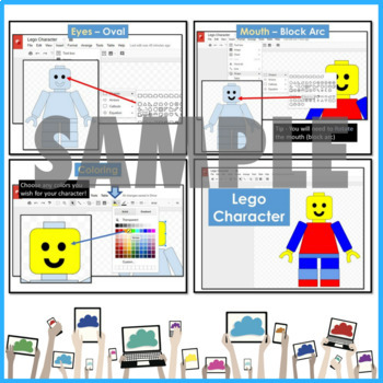 Google Drawings using Shapes to make a LEGO Character