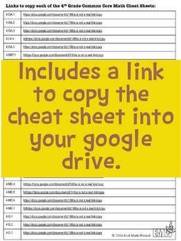 Distance Learning Common Core Cheat Sheets Math 4th Grade Google Drive