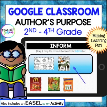 GOOGLE CLASSROOM READING Author's Purpose Paperless Activities