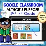 Google Classroom Reading | AUTHOR'S PURPOSE ACTIVITIES | Digital Task Cards