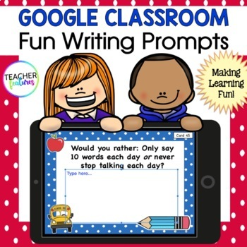 Fun Writing Prompts Paperless Digital Task Cards for Google Classroom