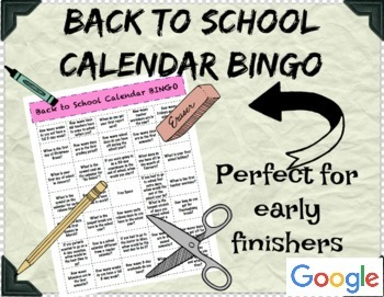 Google Drive-Back to School Calendar BINGO